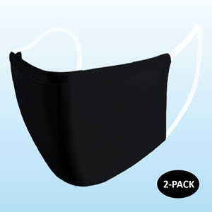 Black Protective Reusable Face Mask 2 Layers Cloth Mask Blank (Pack of 2)