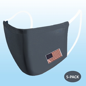 Dark Gray Protective Reusable Face Mask 2 Layers Cloth Mask with Flag