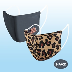 Dark Gray w/ Flag & Leopard Protective Reusable Face Mask 2 Layers Cloth Mask (Pack of 2)