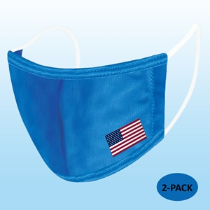 Blue Protective Reusable Face Mask 2 Layers Cloth Mask with Flag (Pack of 2)