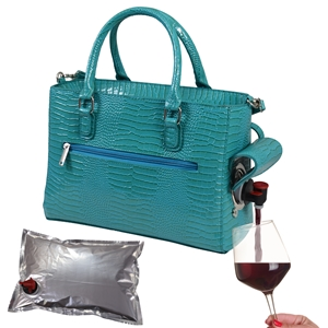 Drink Purse Blue Turquoise Croc