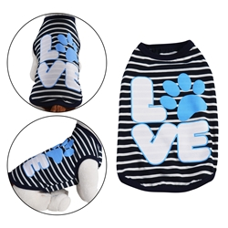 Love Dog Shirt Navy Blue Stripe