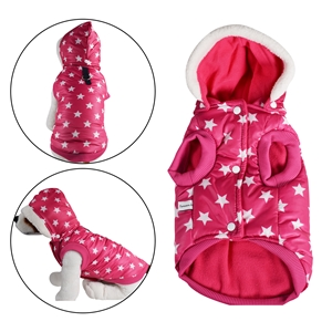 Puffer Dog Jacket Removable Hood Pink